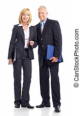 Business people - Mature business people. Isolated over...