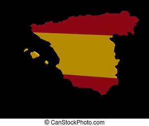 Spain map flag rotating animation