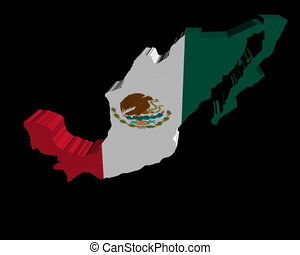 Mexico map flag rotating animation