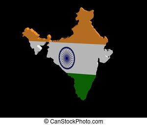 India map flag rotating animation
