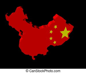 China map flag rotating animation