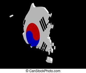 South Korea map flag rotating on black animation