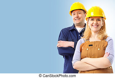 Contractor people in yellow uniform Over blue background
