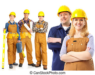 contractors - Industrial contractors workers people Isolated...