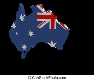 Australia map flag rotating