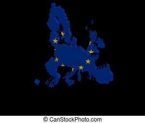 EU map flag rotating animation - EU map flag rotating on...