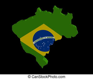 Brazil map flag rotating on black animatio