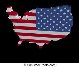 USA map flag rotating animation