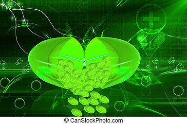 Liver code capsule - Digital illustration of liver code...