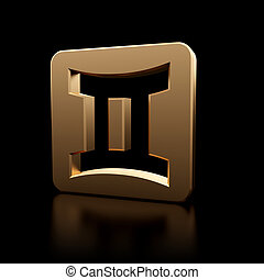 Gemini zodiac symbol icon - Stylish looking 3D Gemini zodiac...