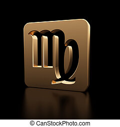 Virgo zodiac symbol icon - Stylish looking 3D virgo zodiac...