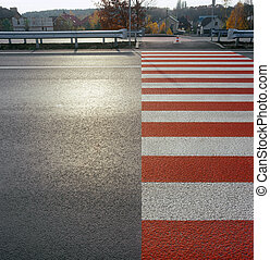 Crosswalk. - Zebra crossing on the street. Please see...