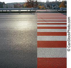Crosswalk. - Zebra crossing on the street. Please see...