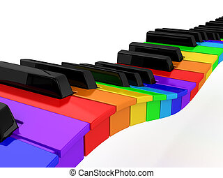 Rainbow piano over white background computer generated image...