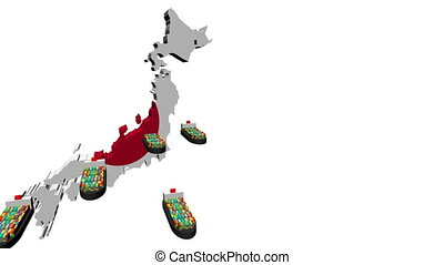 Japan map flag with container ships departing animation