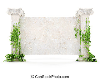 horizontal antiquity billboard covered with ivy - stylized...