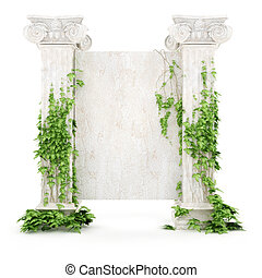 vertical antiquity billboard covered with ivy - stylized...