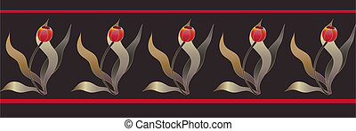 tulip folk ribbon - seamless red tulip folk ribbon