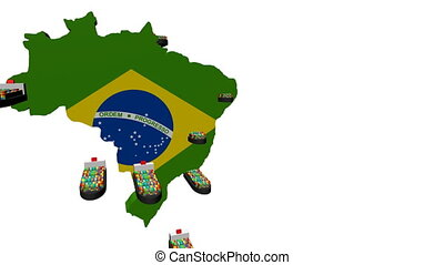 Brazil map flag with container ships departing animation