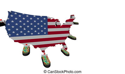 USA map flag with container ships