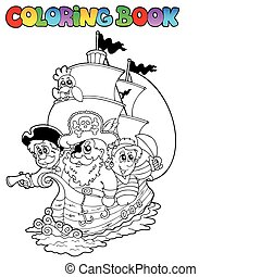 Coloring book with pirates 2 - vector illustration.