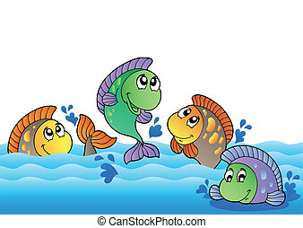 Cute freshwater fishes in river - vector illustration.
