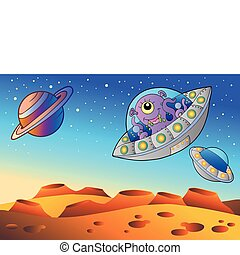 Red planet with flying saucers - vector illustration.