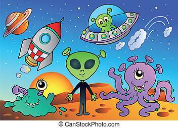 Various alien and space cartoons - vector illustration