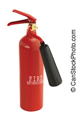 fire extinguishers - Pair of fire extinguishers on light...