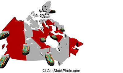 Canada map flag with container ships departing animation