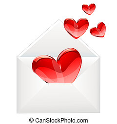 love letter and red hearts