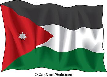 Jordan flag - Waving flag of Jordan isolated on white