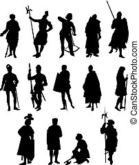 14 Knight Silhouettes - Set of Fourteen Knight and Medieval...