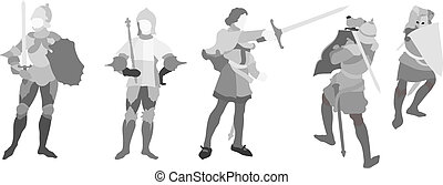 5 Knight illustration Set Three - Illustration of 5 Knights...