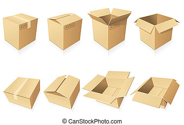 Blank cardboard  boxes in different positions and styles