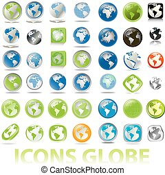 collection of earth globes icons - collection of earth...