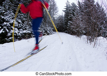 young man cross-country skiing on a snowy forest trail...