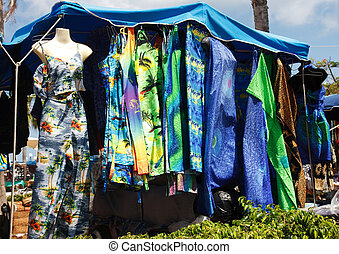 Colorful Dresses in a Caribbean Market