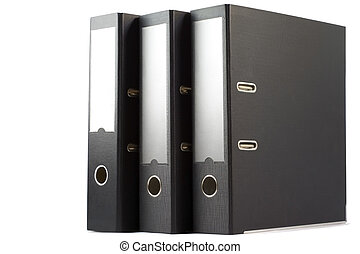 Three folders - Three black folders isolated on white...