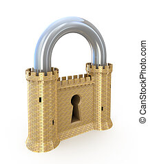 Security concept Padlock as fortress isolated on white