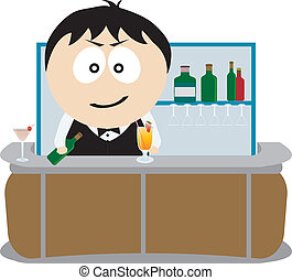 Barman. Vector illustration for you design