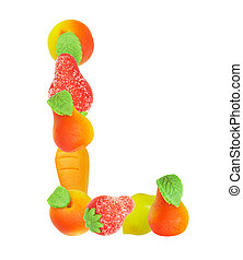 alphabet from fruit, the letter L