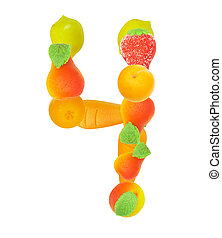 alphabet from fruit, the number 4