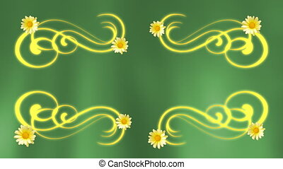 Flower Frame Background - Greens and gold flower frame...