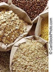 Vário, cereais, sacolas