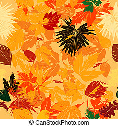 Fall leaves pattern - Seamless background with fall leaves