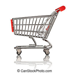 shopping cart - isolated shopping cart on the white