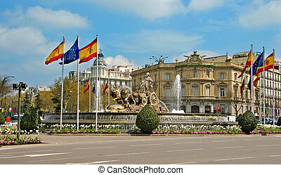 Cibeles Fountain, Madrid, Spain - a view of Cibeles...