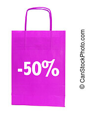 sale - paper bag with 50 percent off written in it isolated...