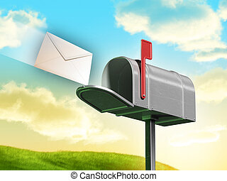 Mailbox - Traditional mailbox and letter over a gorgeous...